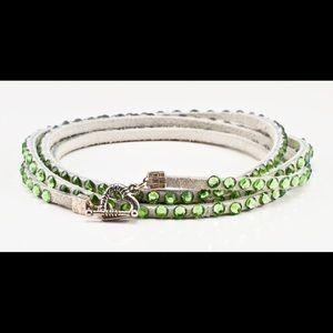 Swarovski crystal bracelet in white with green